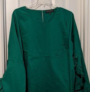 Eloquii Ruffle Sleeve top in Green Size 24w